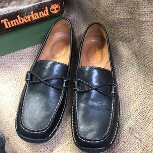 Timberland black leather loafers size 7